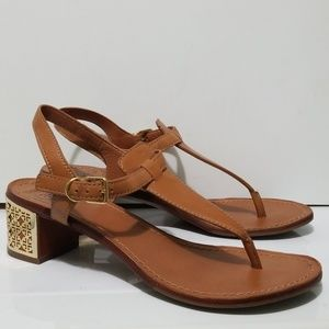 Tory Burch Leather Thong Heel Sandals Audra Size 9